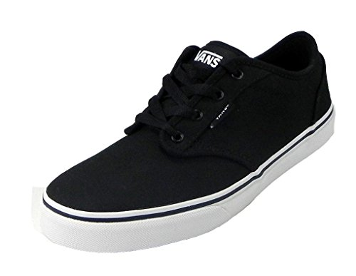 Vans Kids Atwood (Canvas) Black/White Skate Shoe 2 Kids US (Vans Strap Shoes)