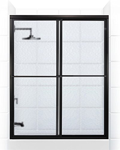 Coastal Shower Doors Newport Series Framed Sliding Tub Door with Towel bar In Obscure Glass, 66