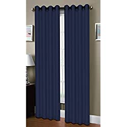 Window Elements Raphael Heathered Faux-Linen Extra-Wide 96 in. L Grommet Curtain Panel Pair, Indigo (Set of 2)