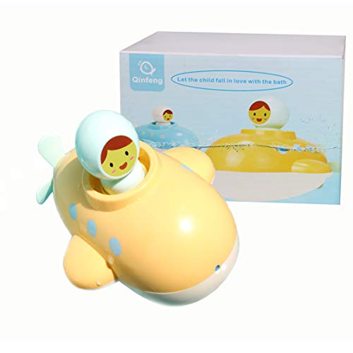 Baby Bath Toy Submarine Bath Toy ,Bath Toy with Spinning Rear Propeller,Water Spray Toy .Safe Toys for Toddlers, Babies(Yellow)