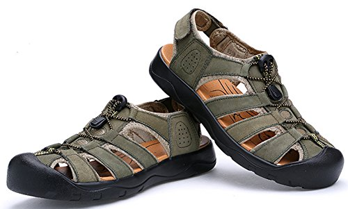 Sandalias Ocasionales De Cuero Para Hombre Suela Exterior Suave Sole Beach Shoes Verde