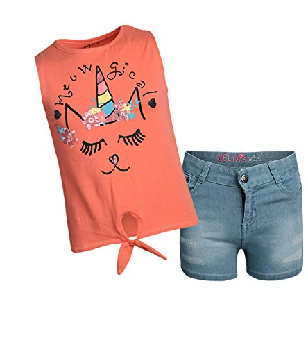 dELiA*s Girls' 2-Piece Denim Short Set with Prints and Sequins Shirts, Coral Meowgical, Size 4T'