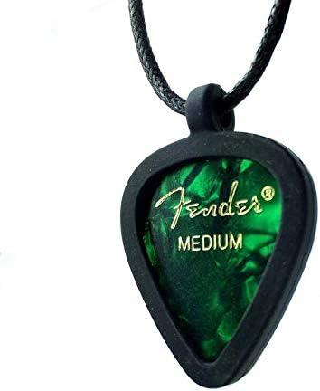 Green Gem Super Power Girl Pick Guitar Pick Pendant Holder Necklace