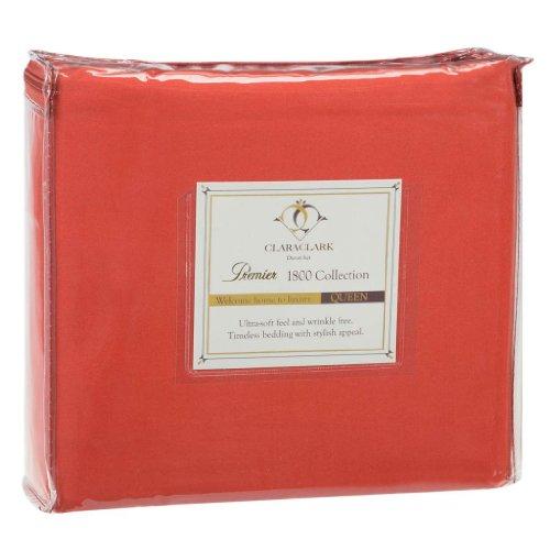 Find Bargain Clara Clark 3-Piece Premier 1800 Series Duvet Cover, Queen, Orange Rust