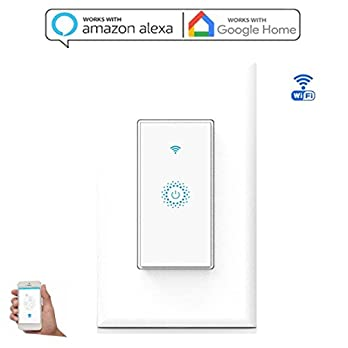 Nexete Smart Wi-Fi Wall Light Switch Compatible with Alexa Google Assistant & IFTTT,Remote Control, Timing Function No Hub Required