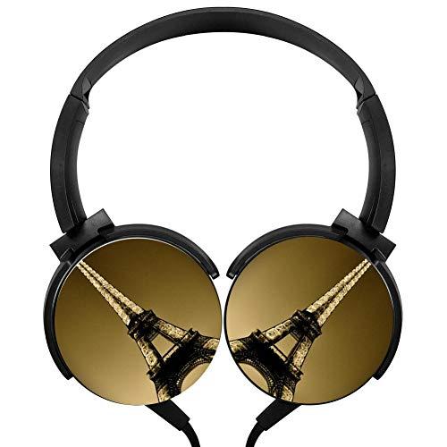 PjNnt Eiffel Tower Bass Subwoofer Wired Headphones Stereo HiFi Over-Ear Headset Black