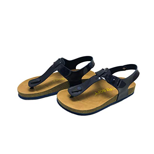 Julia Women Casual Buckle Thong Strap Sandals Flip Flop Platform Footbed Trends Shoes (10, Patent Navy/Navy)