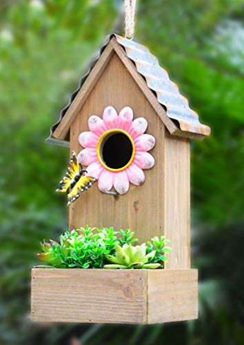 GIFTME 5 Birdhouse Wooden Garden Hanging Decor Galvanized and Metal Flower& Faux Succulents Decorative Outdoor Birdhouse-13.5 Inch Pink