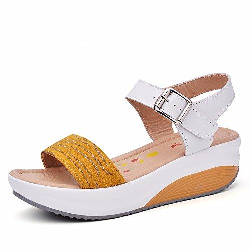No. 55 Shoes Estate Donna Pendenza con la Punta Aperta Sandali Scarpe Casual Fondo Spesso Ladies Sandali,US5.5/EU/36/UK3.5/CN35,5531-Giallo