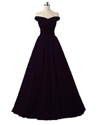 4ad2744ae0 ANGELA Women s Bridesmaid Dress Off Shoulder Long Tulle Prom Evening Dresses  Black 2