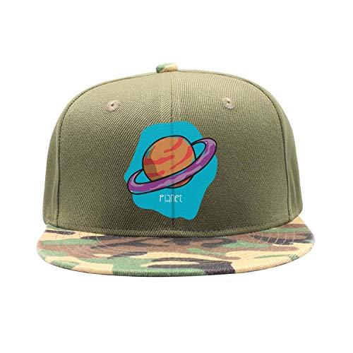 Men Women Camouflage Flat Hiphop Hat Lightweight Blue Planet Drawn