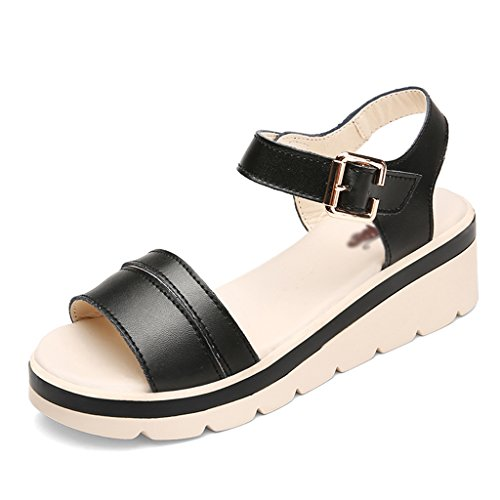 Sandals ZCJB Wedge For Women Summer Mid Heel Women's Shoes Flat Bottom Women Thick-soled Shoes (Color : Brown, Size : 40) Black