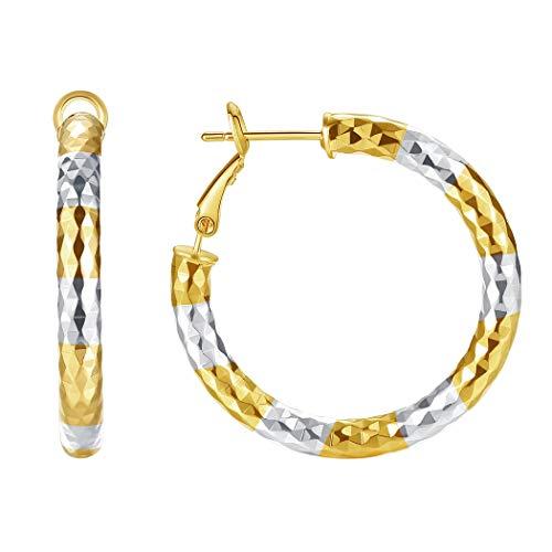Two Tone 18k Earrings (Followmoon 18K Gold Plated Two-Tone Women's Hoop Earrings (Two-Tone 35mm))