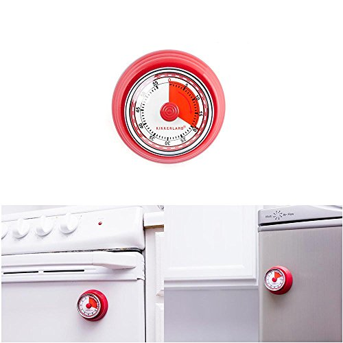 Kikkerland Timer - 1 Magnetic Kitchen Timer Rotary Cook 55 Min Cooking Alarm Count Red Kikkerland