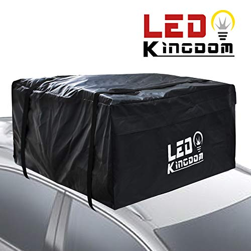 Car Roof Bag, Waterproof Cargo Top Storage Bag, 15 Cubic Feet Heavy Duty Rooftop Bag Vehicle Soft Shell Carrier Bag, Fits All Cars with No Roof Rack, 2 Reinfored Straps ()
