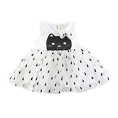 White Weixinbuy Skirts Girl's Cute Tutu Cat Pattern Summer Party Baby Clothes Sleeveless Dress Toddler qxZqWUwgHO