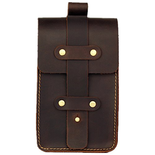 LXFF Mens Genuine Leather Fanny Pack Belt Pouch Waist Bag Hip Bum Bags for Men Vintage Coffee Small -