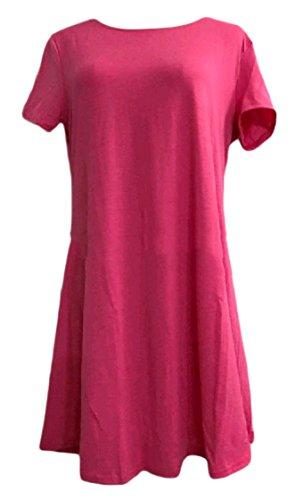 Girocollo Vestito Color Plus Rossa Partito Rosa donne Allentato Manica Libero Corta Longuette Solido Coolred size BfvXqx