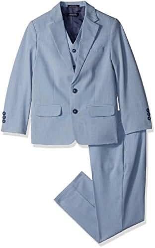 Nautica Big Boys' Sharkskin 3 Piece Suit with Stretch Fabric
