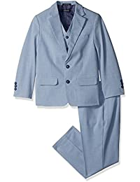 Nautica Big Boys' Sharkskin 3 Piece Suit with Stretch Fabric