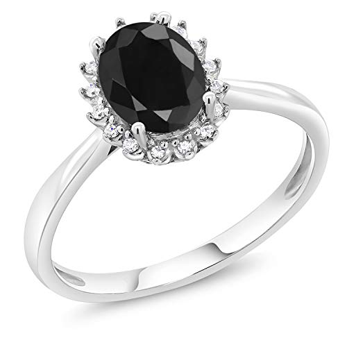 - 10K White Gold Black Sapphire and Diamond Women's Engagement Ring (1.66 cttw Oval Available 5,6,7,8,9) (Size 9)