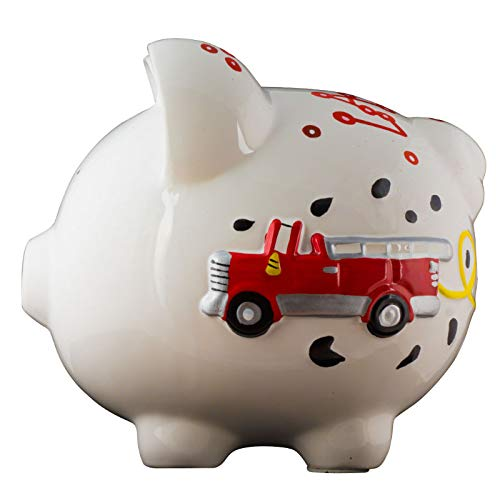 Firetruck Boys Piggy Bank - Large - (Personalized & Custom With Name And Year) (First Financial Toy For Teaching Boys & Girls About Saving Money) (Perfect Unique Gift Idea For Babys 1st Birthday) by HolidayTraditions (Image #6)