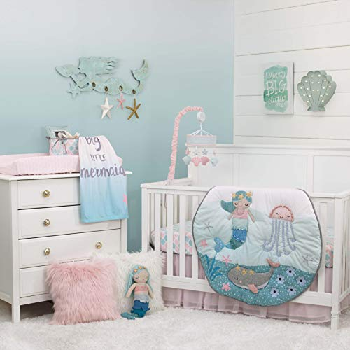 - NoJo Sugar Reef Mermaid 4 Piece Nursery Crib Bedding Set Nursery Organizer, Aqua/Teal/Pink