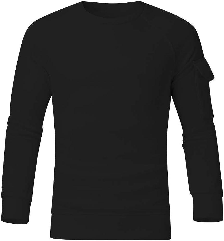 Heetey Camisa Top para Hombre de Manga Larga y Cuello Redondo Mangas Extra Grandes Blusa práctica Sudadera con Bolsillo Grande Casual a Cuadros Camisas de Ocio Camisas de Traje Regional Negro XXXL:
