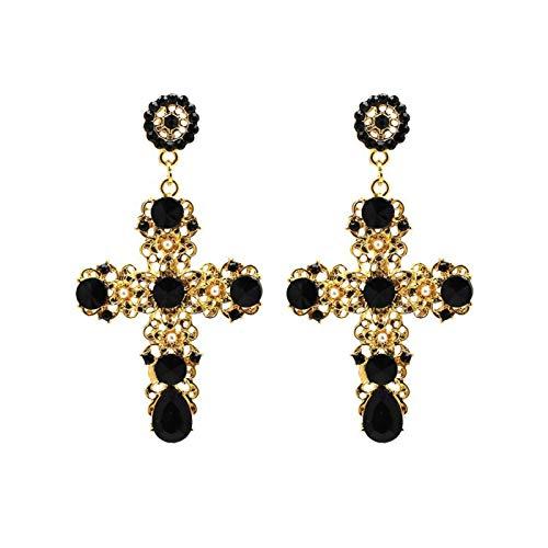 Lesset Gold with Black Stone Cross Fashion Trend Earrings Vintage Baroque Bohemian Dangle Drop Post Earring Jewelry
