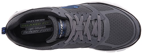 Skechers Sport Mens Skech-Flex Power Alley Oxford, Charcoal/Blue, 10 M US Charcoal/Blue