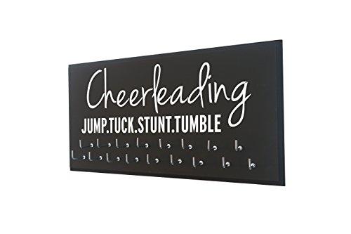 Running On The Wall Cheerleadin Medal Holder - Cheerleading - Jump.Tuck.Stunt.Tumble - Gift for Cheerleader - Cheerleading Accessories - Awards & Ribbons Display (Hanger Cheer Medal)