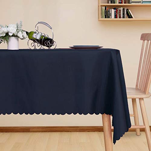 LUSHVIDA Rectangle Table Cloth – Washable Water Resistance Microfiber Tablecloth Decorative Table Cover for Banquet Party Kitchen Dining Room, Black 54 X 80 Inch