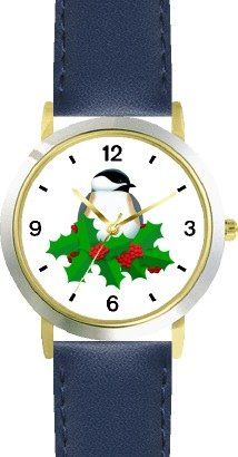 Black Capped Chickadee & Christmas Mistletoe - JP - WATCHBUDDY DELUXE TWO-TONE THEME WATCH - Arabic Numbers - Blue Leather Strap-Size-Women's Size-Small
