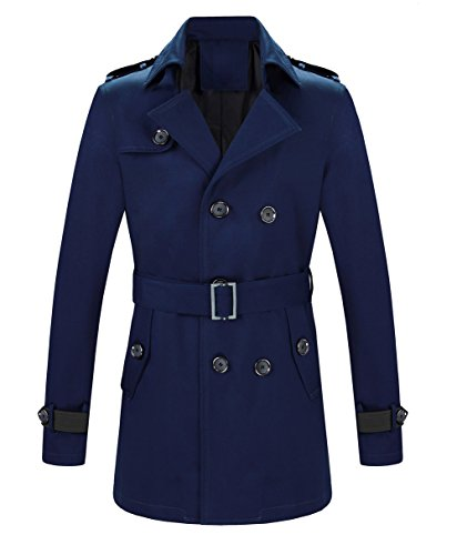 MOGU Mens Double Breasted Belted Trench Coat Jacket Casual Overcoat US Size 33 (Tag Asian Size L) Navy ()