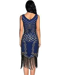 1920 Vestidos para las Mujeres V Cuello Brillante Lentejuelas Flapper Gran Gatsby Flecos Vestido de Cóctel