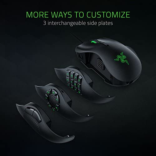 Razer Naga Trinity Gaming Mouse: 16,000 DPI Optical Sensor – Chroma RGB Lighting – Interchangeable Side Plate w/ 2, 7, 12 Button Configurations – Mechanical Switches 41quBDM0OQL