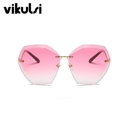 Yangjing-hl Gafas de Sol sin Montura de Degradado Rosa para ...