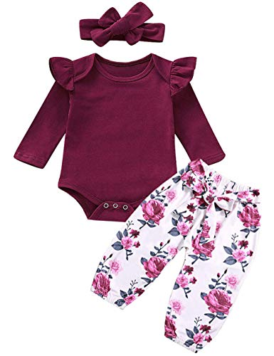 Newborn Baby Girls Clothes Ruffle T-Shirt + Floral Pants + Headband + Hat Outfit Sets (Red, 3-6 Months)