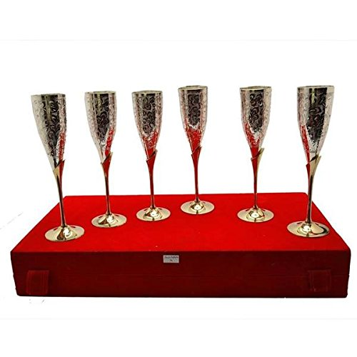 Royal Flute - Tuzech Silver Plated Royal Brass Goblet Flute Champagne Wine Glass Wine Set (Set Of 6)