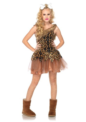 Leg Avenue Costumes 2Pc. Cave Girl Cutie Fur Trimmed Asymmetrical Dress Bone Headpiece, Brown, Medium/Large