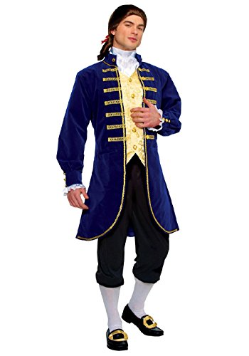 Aristocrat Costume Mens (OvedcRay Adult Blue Aristocrat George Washington Colonial Men Costume Jacket Knickers)