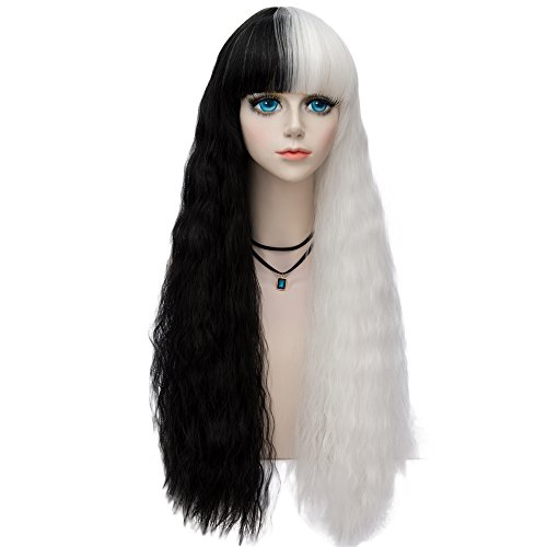 Probeauty Halloween Collection 75cm Mix Color Gothic Long Curly Wavy Ombre Hair Synthetic Cosplay Wig+Cap (80cm Curly Full Bangs Black Mix White)