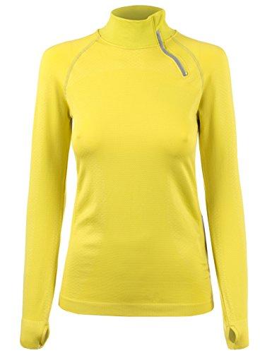 KOOLDO Womens Zip up Neckline Long SLV. Workout Pullover Top -M/L-Sulphur_Spring
