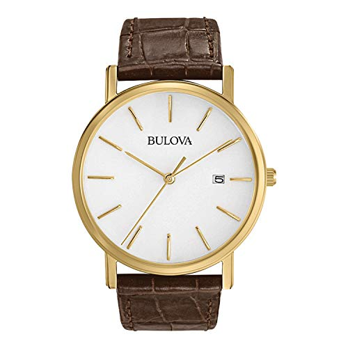 Brown Strap Bulova - Bulova Men's 97B100 Gold-Tone Stainless Steel Watch With Brown Leather Band