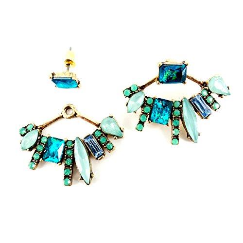 - Chic Urban Mint Opal Fire Blue Crystal Statement Ear Jacket Gold Earrings New Trend Gift Idea