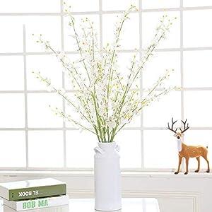 MaxFox Artificial Flowers Long Stem Oncidium Orchid Phalaenopsis Simulation Flowers For Wedding Dinning Decor In Vase (white) 3