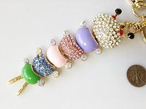 Korean Chilopod Style Flash Diamond Crystal Key Chain Ring Keyring Keychain Fob Holder Bag Handbag Ornament Decoration Hook
