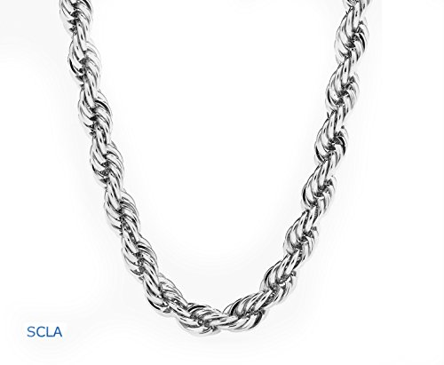 White Gold Chain Necklace 7mm 18 Karat Plated Rope Chain USA Made! Life Time Waranty (Looks Like Button)