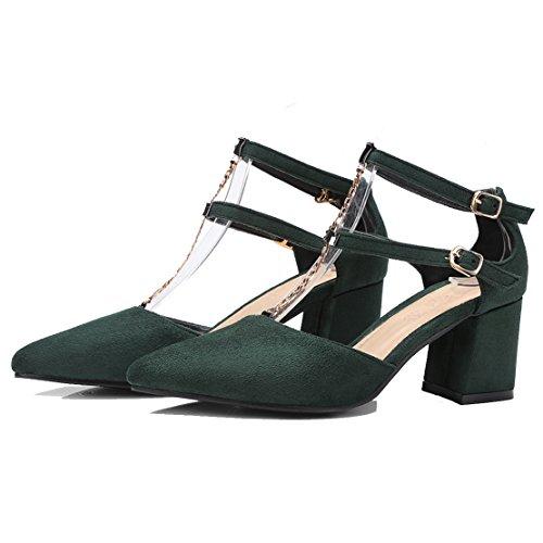 AIYOUMEI Damen Spitz T-spangen Pumps mit Riemchen und 6cm Absatz Blockabsatz Bequem Sommer Schuhe Grün