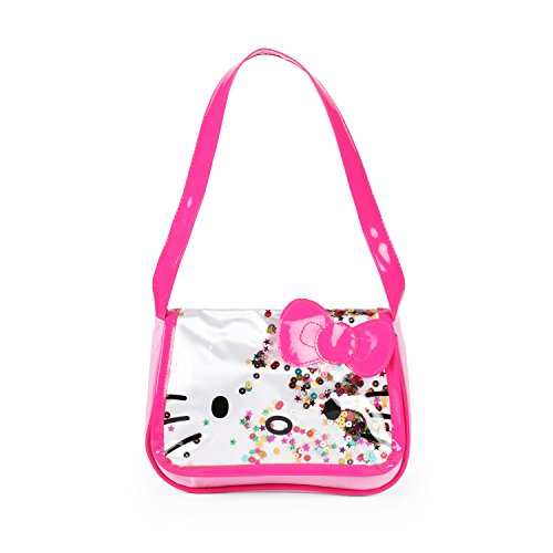 Sanrio Hello Kitty Pink Bow Flap Glitter Shoulder Bag for Girls